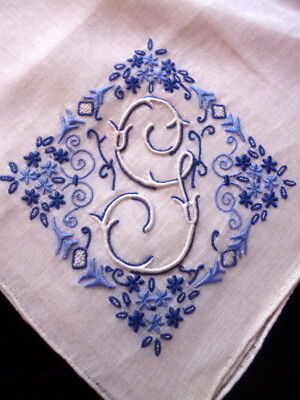 "VTG Madeira ""G"" Embroidered Linen Handkerchief Wedding"