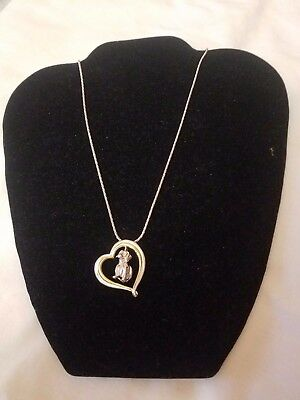 925 Sterling Silver '' I Love Dachshunds '' Pendant On Chain