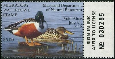 MARYLAND #18 1991 STATE DUCK STAMP SHOVELERS by David Turnbaugh
