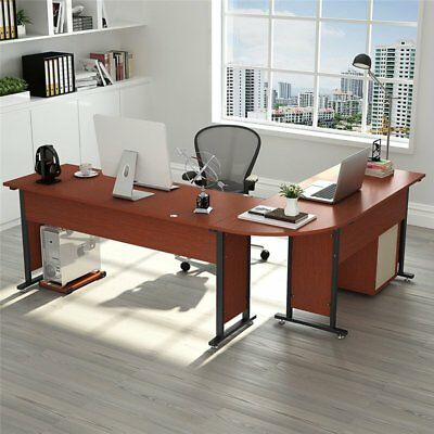 Modern L-Shape Corner Computer Desk with Drawers PC Laptop Table Workstation87''