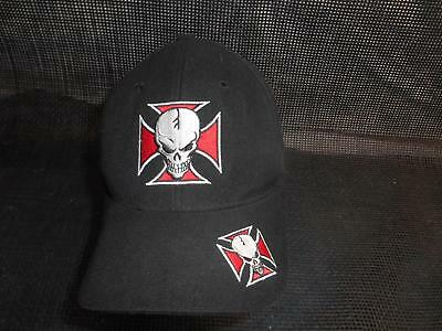 Old Vtg SKULL & IRON CROSS MEN'S HAT Baseball CAP Gangster DCI Headwear