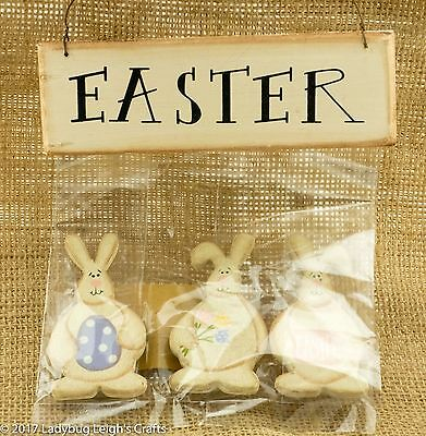 Easter Bunny Lot of 3 Wood Magnets & Hanger Collins Spring Country Prim NIP