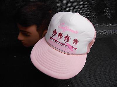 Old Vtg CALIFORNIA Pink Men's HAT Truckers Cap Foam Snapback Advertising Travel