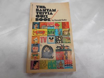 Old Vtg 1975 THE BANTAM TRIVIA QUIZ BOOK Fun-Filled First Edition Donald Saltz