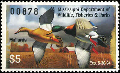 MISSISSIPPI #18 1993 STATE DUCK MALLARDS by Eddie Suthoff