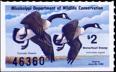 MISSISSIPPI #7 1982 STATE DUCK CANADA GEESE by Jerry Johnson