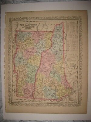Vintage Antique 1856 New Hampshire Vermont Desilver Mitchell Dated Handcolor Map