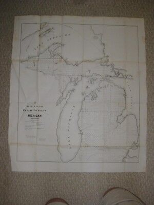 Large Early Important Vintage Antique 1851 Michigan Map Northern Peninsula Fine