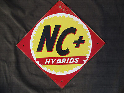 VINTAGE 1960s-1980s NC+ HYBRIDS MASONITE SIGN FARM SEED CORN & FEED
