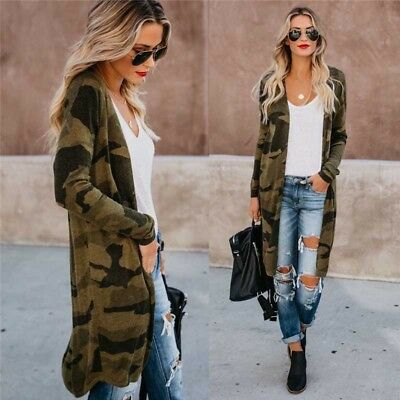 Sexy Womens Leopard Coat Jackets Ladies Slim Fit Long Cardigan Casual Outwear