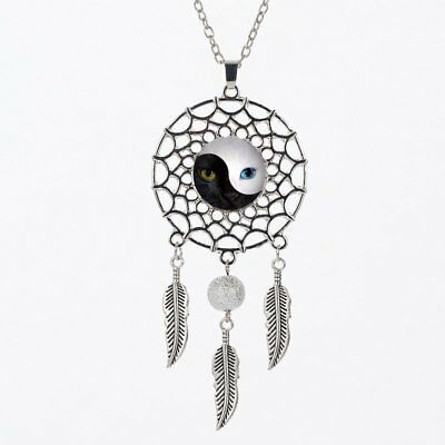 Fashion Feather Dreamcatcher Cat Women Round Pendant Necklace Sweater Jewelry