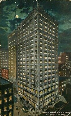 Postcard North American Building at NIght, Chicago, Illinois - used in 1916