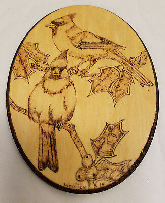 Laser Etched Wood Cardinal Red Birds Figure Etched Thin Oval Wall Decor