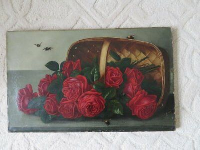 OMG Old Antique ROSE OIL PAINTING RED ROSES in Basket & BEES on Canvas 1900