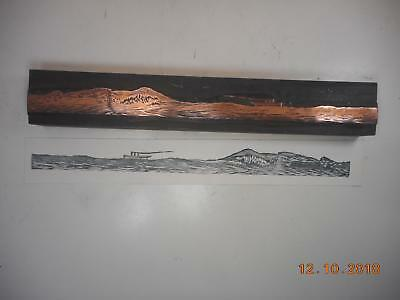 Printing Letterpress Printer Block Detailed Ship In Waves Antique Printer Cut