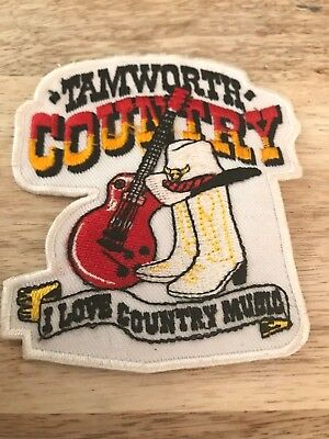 Tamworth Country-'I Love Country Music' Cloth Badge-New-1990's-8 cm wide.