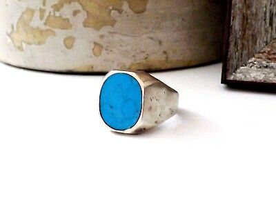 Taxco Sterling Silver 925 Turquoise Mexican Modern Mens Signet Size 10 1/2 Ring