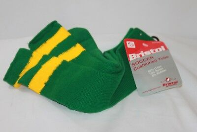 VTG Orlon Acrylic Cushioned Tube Socks Soccer Green Gold Bristol Mens 9-15