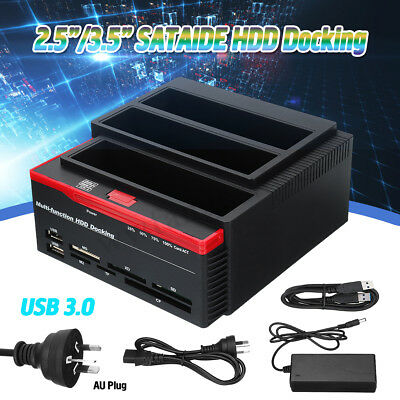 "USB 3.0 3Bay SATA IDE Hard Drive Docking Station 2.5""/3.5"" HDD Dock Clone CF/TF"