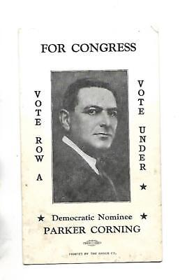1922 New York Congressman Parker Corning Election Palm Card