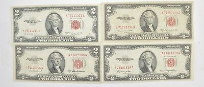 Lot (4) Red Seal $2.00 US 1953 or 1963 Notes - Currency Collection *543