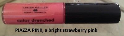 Laura Geller Color Drenched Lip Gloss in PIAZZA PINK, a bright strawberry pink