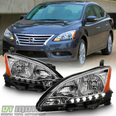For 2013 2014 2015 Sentra Headlights LED DRL Headlamps Replacement Left+Right