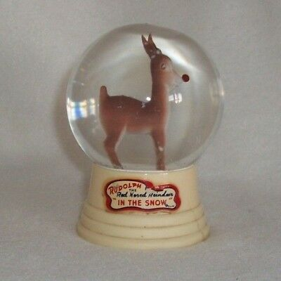 Vintage Snow Globe The Driss Company: Rudolf the Red Nosed Reindeer in the Snow.