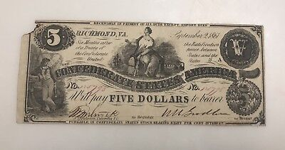 1861 $5 CSA Confederate States Of America Currency Note T36 PF-2 US History