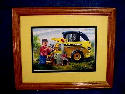 Ray Crouse Tractor Print - John Deere Junior Construction - Matted - Framed