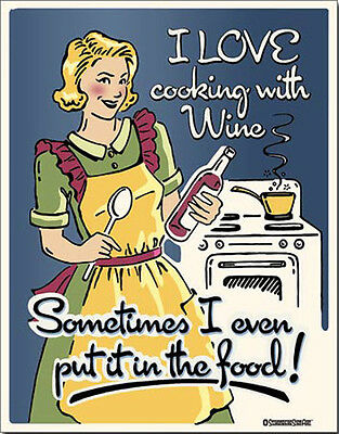 Wine Sign Cooking Funny Kitchen Vintage Metal Advertising Tin New USA Schonberg