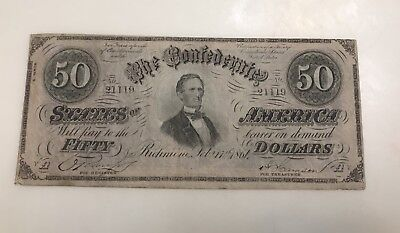 1864 $50 CSA Confederate States Of America Currency Note T66 US History