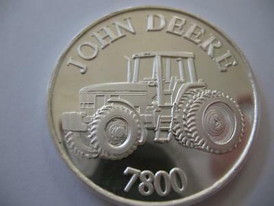 1-Oz.john Deere Model 7800 Tractor Christmas Gift.999 Proof Edt Silver Coin+Gold