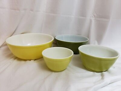 Vintage Pyrex Nesting Bowls Mixing Set of 4 Olive Green & Yellow 404 403 402 401