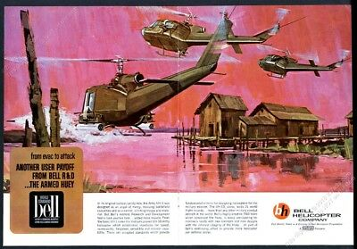 1965 US Army Huey helicopter Vietnam War art Bell Helicopter vintage print ad