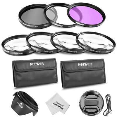 Neewer 55mm Lens UV/CPL/FLD Filter and Close-up Macro Set (+1+2+4+10) +Lens Hood