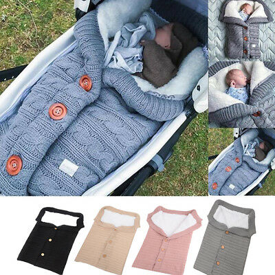 Newborn Knitted Swaddle Sleeping Bag Outdoor Button Thickened Baby Stroller