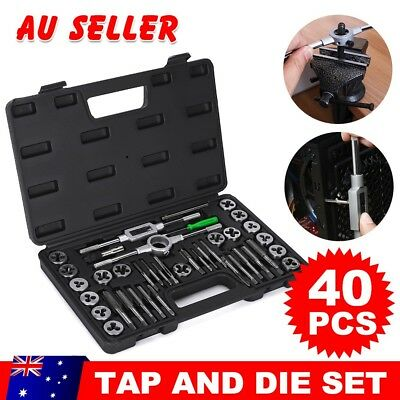 40Pcs Screw Screwdriver Thread Tap and Die Set Wrench Hand Drill Tool Kit Metric
