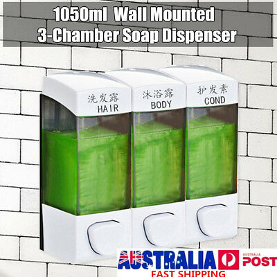 Bathroom Triple Shower Gel Body Lotion Conditioner Shampoo Liquid Soap Dispenser