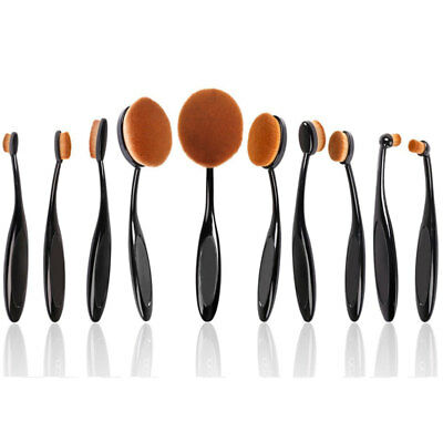 NEW Oval Makeup Brush Set of 10pcs Super Soft Professional Tooth-brush (Black)