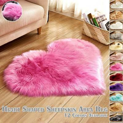 Cosy Fluffy Love Heart Shape Shaggy Rugs Soft Thick Bedroom Living Room Carpet
