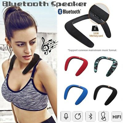 Wearable Neck Wireless Bluetooth Speaker Stereo Sports Music Neck Mp3 Player USB