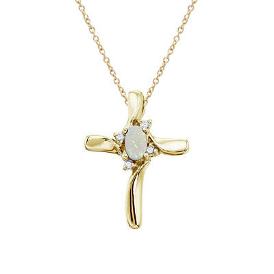 """14K Yellow Gold Opal and Diamond Cross Pendant with 18"""" Chain"""
