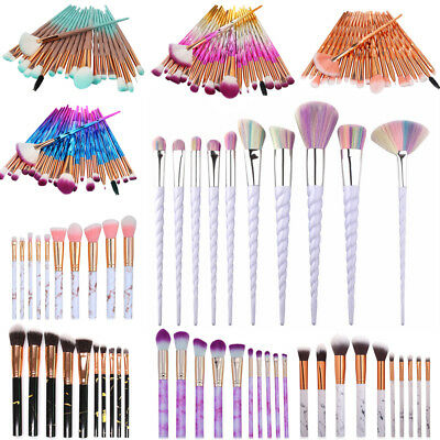 10/20PCS Unicorn Marble Make up Brushes Blusher Face Powder Foundation Eyeshadow