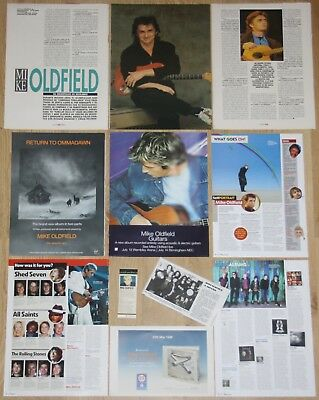 MIKE OLDFIELD clippings 1980s/00s magazine articles photos cuttings lp ad