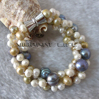"""8"""" 6-12 mm White Champagne Gray 3Row Freshwater Pearl Bracelet AC"""