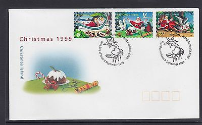 CHRISTMAS ISLAND  1999 CHRISTMAS set on FDC - Santa Claus & BIRDS Wildlife.