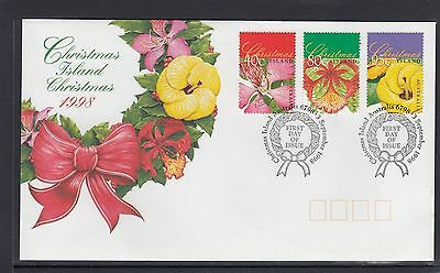 CHRISTMAS ISLAND  1998 CHRISTMAS set on FDC - Flowers Flora
