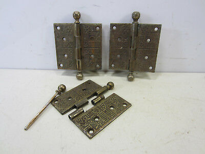 "3 Antique Eastlake Brass Plated Steel Large Bail Top Hinges- 5"" x 5"""