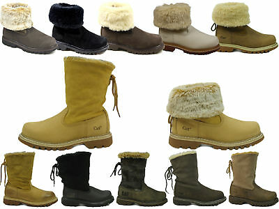 1d2fe2866c1895 Womens Caterpillar Cat Bruiser Scrunch Leather Faux Fur Ankle Boots Uk  Sizes 3-8